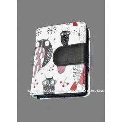 Dámská kožená peněženka DD 2811-01 bílá/černá barevný potisk