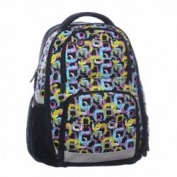 Bagmaster školní batoh ORION 0115 A Black/colour (černá/tyrkys/zelená/fialová)