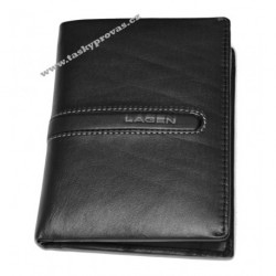 Pánská luxusní kožená peněženka Lagen 614860 černá/šedá