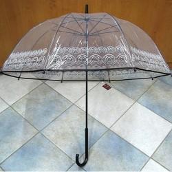 Holový průhledný deštník Nuvem 4033 černo-bílý