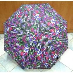 Deštník skládací Perletti 25582 černá/květy/puntíky