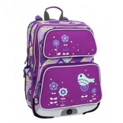 Holčičí školní batoh Bagmaster GALAXY 6 A VIOLET/BLUE (fialová/modrá/ptáček)