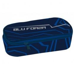 Školní etue s klopou Stil Blue forza modrá/stříbrná