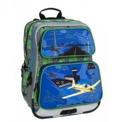 Klučičí školní batoh Bagmaster GALAXY 6 C BLUE/GREEN/YELLOW (modrá/zel./žlut./letadlo)
