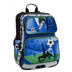 Klučičí školní batoh Bagmaster GALAXY 6 D BLUE/GREEN/WHITE (modrá/zel./bílá/fotbal)