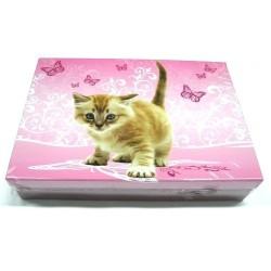Školní krabice do lavice Kotě (růžová)