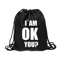 Vak na záda/pytlík na přezůvky apod. I´AM OK YOU (černá/bílý nápis)