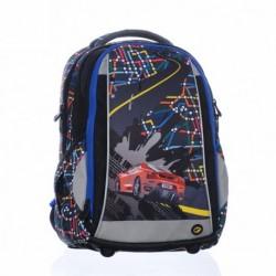 Školní chlapecký batoh Bagmaster SCHOOL 0115 B Black černá/modrá/auto