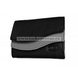 Malá kožená peněženka DD 495-52 černá/šedá