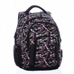 Dívčí školní batoh Bagmaster MAGIC 0115 A Black/pink/grey (černá/růžová/šedá/vážky)