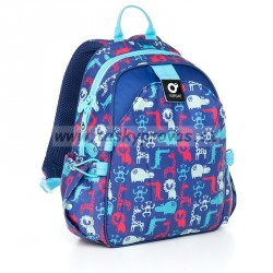 Dětský batoh Topgal CHI 839 D - Blue (modrá/červená/zvířátka)
