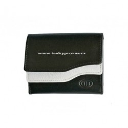 Malá kožená peněženka DD 0495-98 černá/bílá