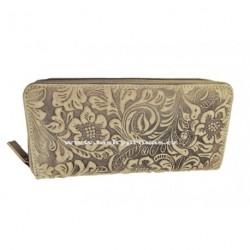 Dámská kožená peněženka DD SLW 1263-55 šedohnědá tisk