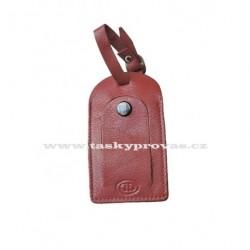Kožená visačka na zavazadlo DD S400 tm.červená