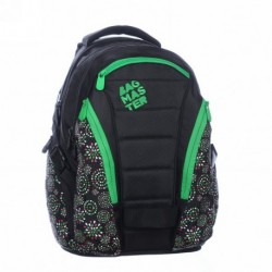 Studentský batoh Bagmaster BAG 0215 D BLACK (černá/zelená/bílá/červená)