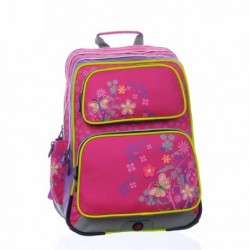 Školní dívčí batoh Bagmaster GOTSCHY 0115 B Pink (růžová/fialová/motýlci)