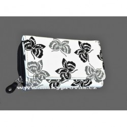 Dámská kožená peněženka DD 41-01 bílá/černá šedočerný potisk