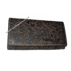 Dámská kožená peněženka Tal 12026 tm.hnědá tlačená