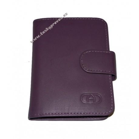 Kožené pouzdro na vizitky nebo kreditní karty DD SPL 97-15 tm.fialové