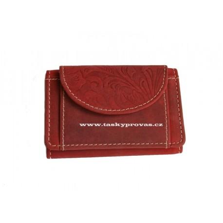 Malá kožená peněženka DD D 919-38 červená (ražba)