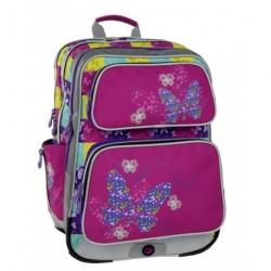 Holčičí školní batoh Bagmaster GALAXY 6 B PINK/BLUE/YELLOW (růžová/modrá/motýl)