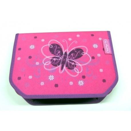 Školní penál Herlitz s trojhrannými pastelkami 11352234 Motýl růžová/fialová