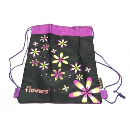 Školní sáček na obuv P+P Karton 3100 Flowers (fialová/černá)
