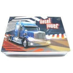Školní krabice do lavice Diesel power S (modrá/náklaďák) - snížená velikost