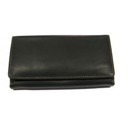 Krol 7051 černá kožená peněženka s kovovým rámečkem