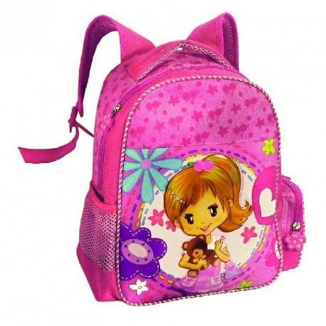 Dětský batůžek 1401 růžový/ holčička s méďou