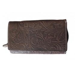 Dámská kožená peněženka DD D 41-33 tm.hnědá (ražba)