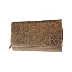 Dámská kožená peněženka DD D 41-39 tan (ražba)