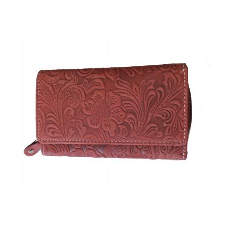 Dámská kožená peněženka DD D 41-38 červená (ražba)