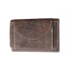 Malá kožená peněženka DD D 919-33 hnědá (ražba)