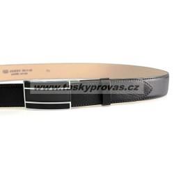 Pánský luxusní kožený společenský opasek s plnou sponou Belts 35-020-A6 černý