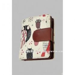 Dámská kožená peněženka DD 2811-07 bílá/tm.červená barevný potisk
