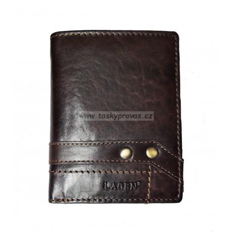 Pánská kožená peněženka Lagen 112/T tm.hnědá
