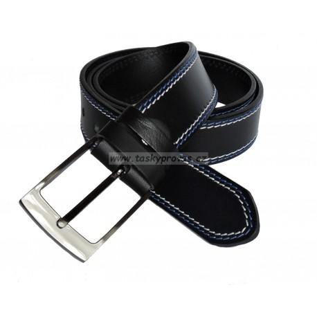 Opasek kožený Penny Belts 34-2PR černý modře a bíle prošitý