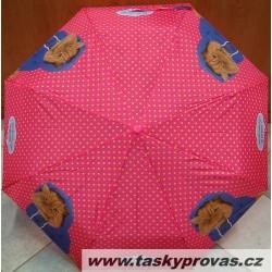 Deštník skládací Perletti 25830 růžový/kočka