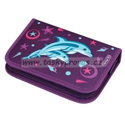 Školní penál  vybavený  Herlitz 50008360 Delfín, 2 chlopně