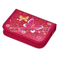 Školní penál  vybavený  Herlitz 50008353 Motýl červený, 2 chlopně