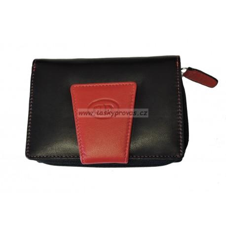 Dámská kožená peněženka DD D 301-81 černá/červená