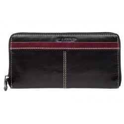 Dámská kožená luxusní peněženka Lagen 26512 black/red