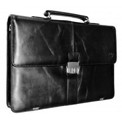 Kožená aktovka s přihrádkou pro notebook  Arwel 112-5056 černá