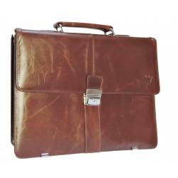Kožená aktovka s přihrádkou pro notebook  Arwel 112-5056 hnědá