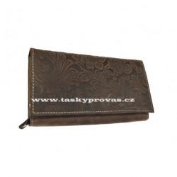Dámská kožená peněženka DD D175-33 hnědá (ražba)