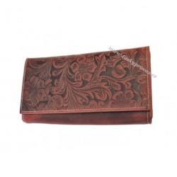 Dámská kožená peněženka DD D175-38 tm.červená (ražba)
