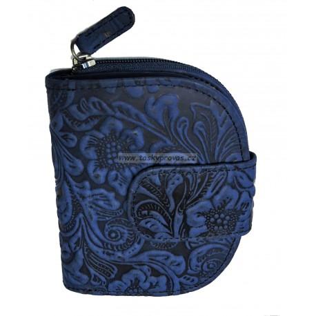 Dámská kožená peněženka DD W 30-36 modrá tlačená