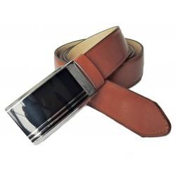 Pánský luxusní kožený společenský opasek s plnou sponou Belts 35-020-A5 hnědý