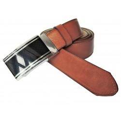 Pánský luxusní kožený společenský opasek s plnou sponou Belts 35-020-A8 hnědý